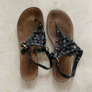 Michael Kors Leather Sandals Sz 8.5 Flats Studded